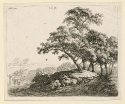 Large Trees on a Road; Sheep Crossing a Stream