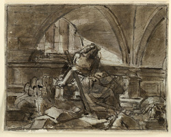 Sketch, Seated Allegory in Architectural Setting
