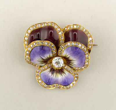 Brooch in the form of a pansy
