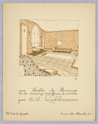 Plate 41, Une Salle de Bains, lit de massage et coiffeuse de marbre (A Bathroom, massage bed, and marble dressing table), Gazette du Bon Ton (Journal of Good Tastes), Vol. 2, No. 9