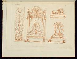 Designs for a Panel, Fire Screen, and Andirons, pl.3, XIe Cahier, Oeuvres de différents genres dessinée par J. B. Huet