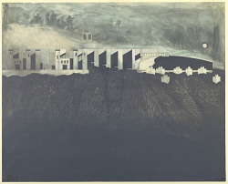 Campus in Santa Monica Mountains, California: elevation study for unbuilt structure