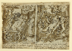 Page of a sketchbook; Heavenly powers helping pious; Sketch for potrait of saint; Decoration of pediment