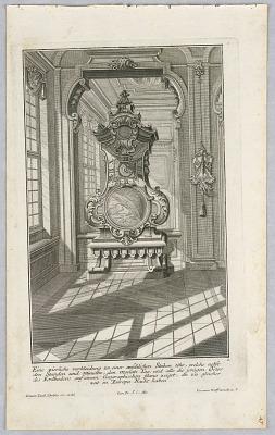 Funffte Ausgab seiner vorhabenden werckes...Unterschiedliche Neu Inventierte Verkleidunen zu modernen geographiscehen und astronomischen Perpendicul-Uhren, erschienen bei Jer.