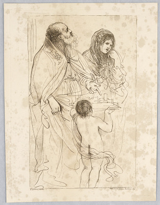 Old Man, Woman, and Boy, with a Model of a Town