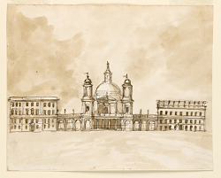 Elevation of a church flanked by two houses