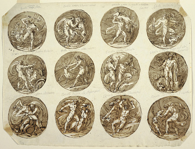 Twelve Circular Medallions with Representations of the Deeds of Hercules