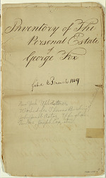 Inventory of the estate of George Fox