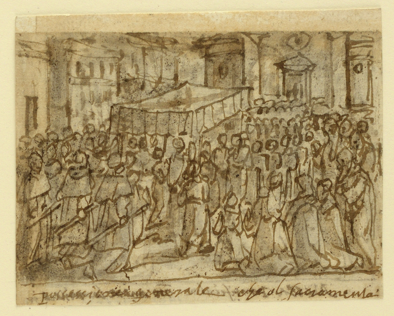 Sketchbook Page with Procession with the Host and Pontifical Mass