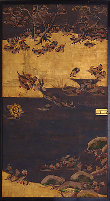 On one side mandarin ducks; on the other, poems, bamboos, storks, etc