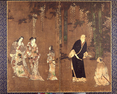 A man, two women and two attendants under bamboos and wisteria