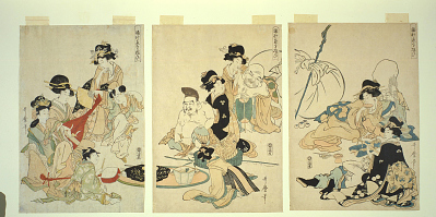 Japanese gods of fortune with female attendants