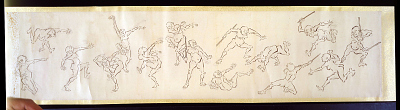 Nude male figures with sticks