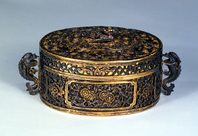 Oval box with lid and dolphin handles