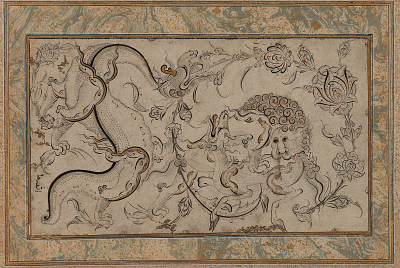 Lion, ch'i-lin, and dragon set in floral sprays