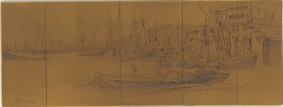 Etching plate: Thames Warehouses