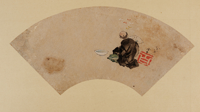A man with a fan, butterflies, and a bowl of water