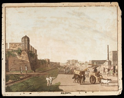 <em>The Old Fort, the Playhouse, Holwell's Monument</em> from <em>Views of Calcutta</em>