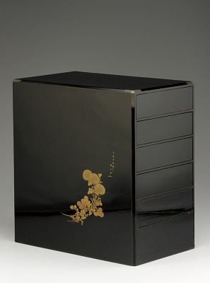 Yakuro (medicine chest) of ro-iro (polished black) lacquer, with six drawers