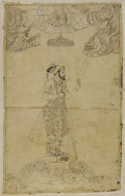 Shahjahan standing on a globe