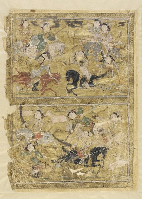 <em>A polo game and a hunting scene</em> from a <em>Shahnama</em> (Book of kings) by Firdawsi