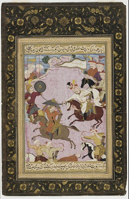 Folio from the <em>Tarikh-i alam-aray-i Shah Ismail</em> (The world adorning history of Shah Ismail); The Battle between Shah Ismail and Abul-khayr Khan