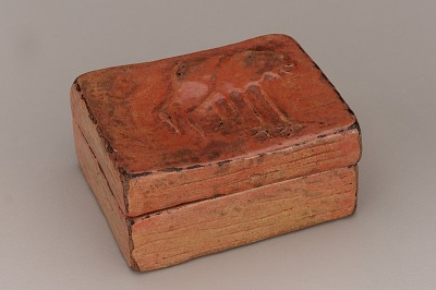 Incense box with design of cranes, unknown Raku ware workshop
