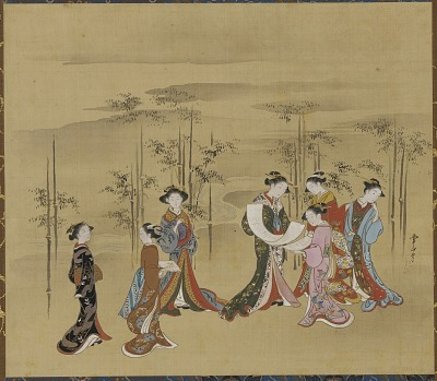 Seven young women in a bamboo grove
