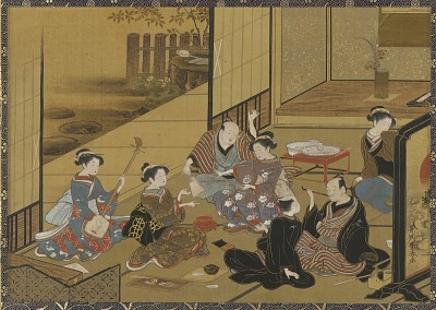 Interior: a gay party; men and <em>geisha</em>