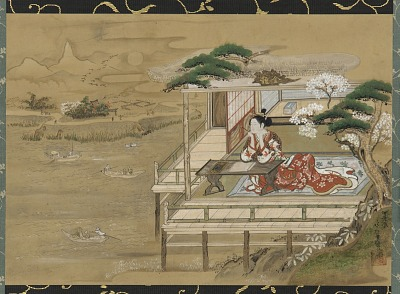 Murasaki Shikibu composing the Tale of Genji at Ishiyamadera