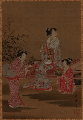 Young woman, with two girl attendants, seated in a garden