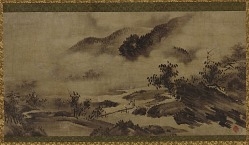Landscape: mountains, mist and stream