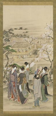 Landscape: parties of men and women looking at cherry blossoms