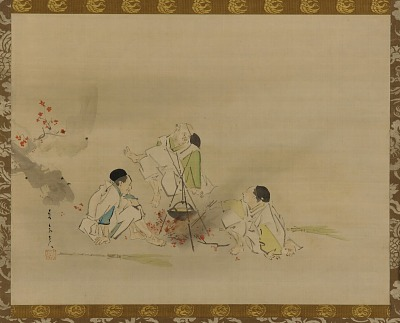 Three gardeners of the Emperor Takakura heating sake over a fire of maple leaves
