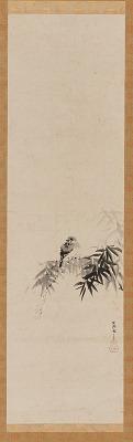 Bird on a bamboo branch