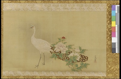 White peacock and peonies