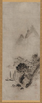 Landscape: boats and an over-hanging pine tree