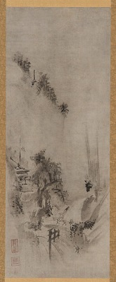 Landscape: two men and a donkey on a bridge