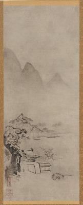 Landscape: overhanging pine trees on a rock