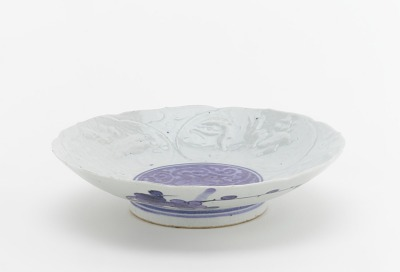Dish with molded and painted decor