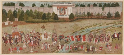 A Raja and His Courtiers in Procession Outside a Walled City