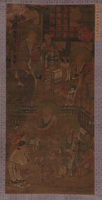 Four Luohan with Attendants, Tigers, and Supplicant