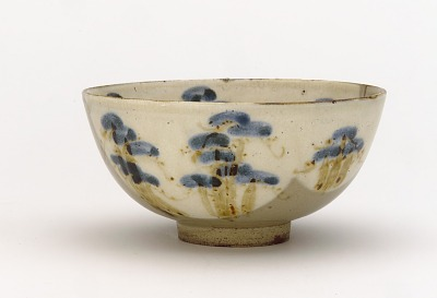 Kenzan-style food bowl with design of pine trees