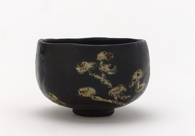 Kenzan-style Black Raku tea bowl with design of pines
