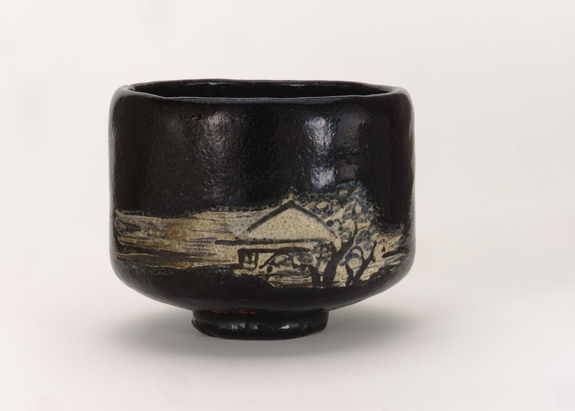 Kenzan-style Black Raku tea bowl with design of mountain retreat