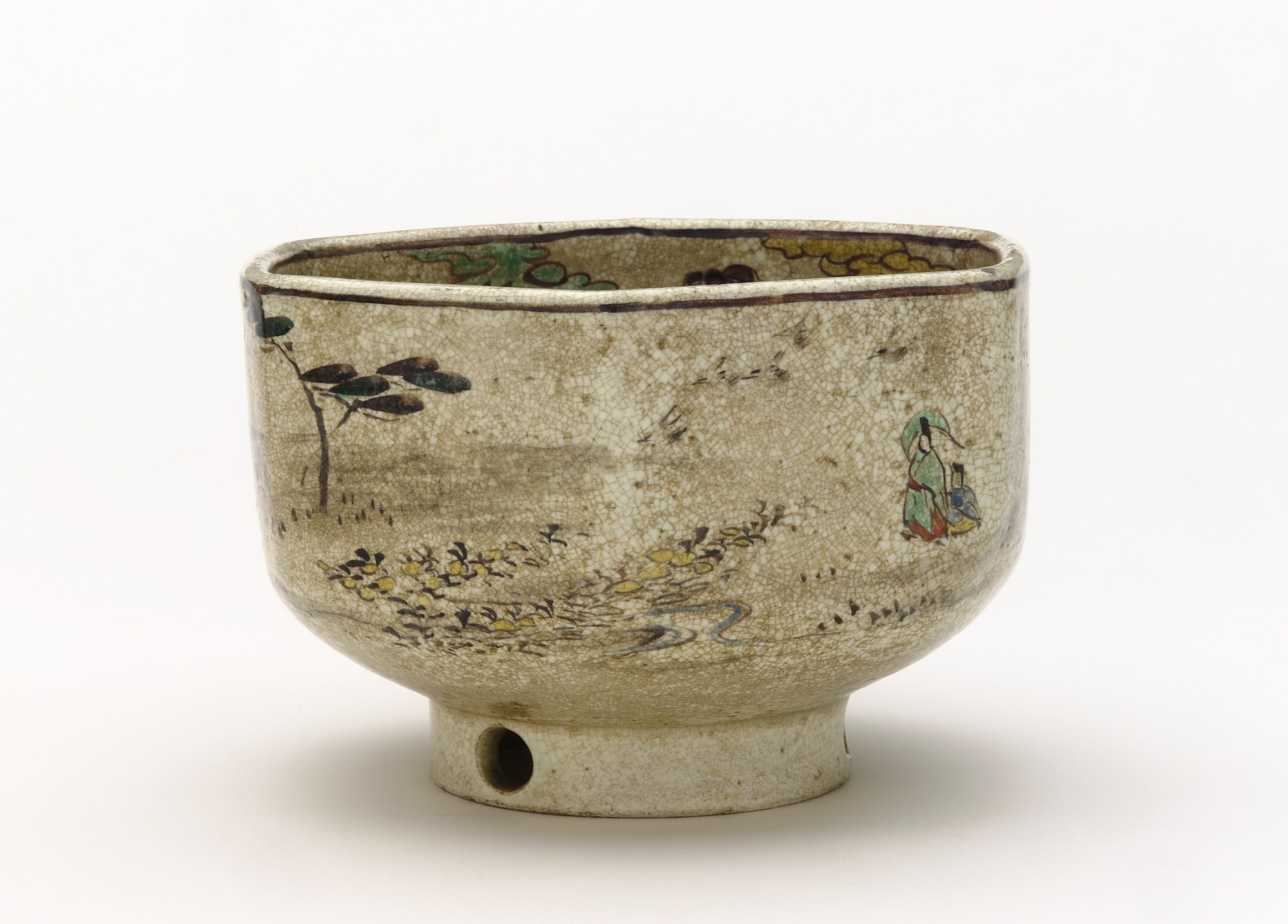 Six-sided ember pot with design of Tama River of Musashino