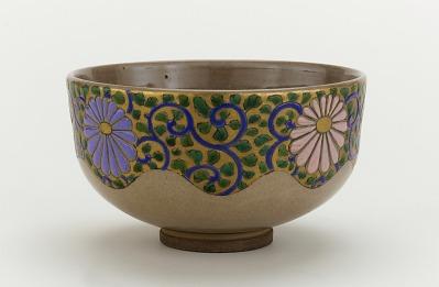 Ninsei style tea bowl