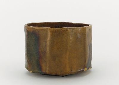 Low cylindrical tea bowl, unknown Raku ware workshop