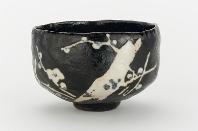 Tea bowl with design of blossoming plum tree, unknown Raku ware workshop