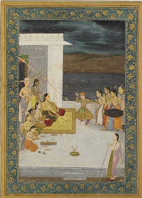 A Princess entertained by a dancer; attendants and musicians